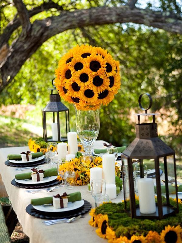inspiration festliche dekoration mit der sonnenblume toll was blumen machen. Black Bedroom Furniture Sets. Home Design Ideas